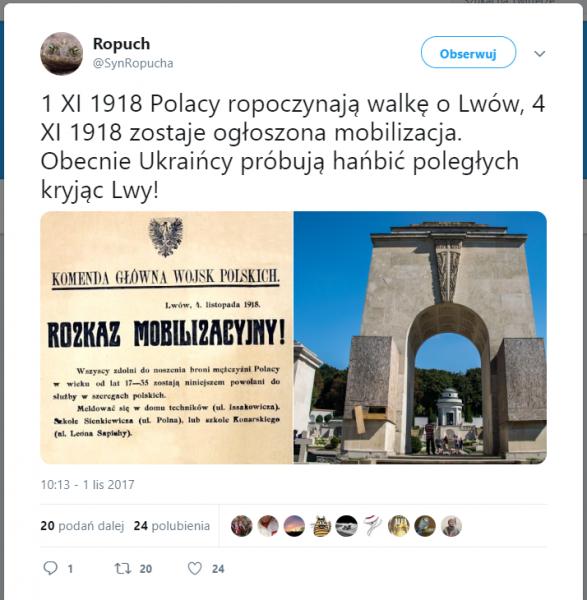 Ukraińcy żądają Usunięcia Lwów Z Cmentarza Orląt Lwowskich