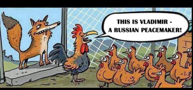 Putin jako lis pilnuje spokoju w kurniku...