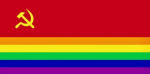 Bolszewicka - tęczowa - flaga lewackich degeneratów