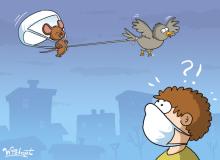 maska, maseczka, mysz, myszka, mouse, covid, coronavirus, koronawirus, humor, satire, bird, ptak, mask, satyra, widget, galeriawidgeta, rysunek satyryczny
